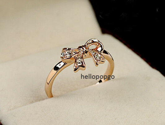 18K Rose Gold GP Austrian Crystal Beautiful bow-knot Ring BR396