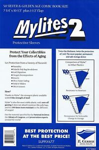 50 Mylites2 775M2 Silver Golden Age Size Protective Sleeve Mylar Bag (E.Gerber)