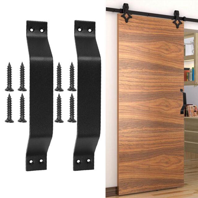 2PCS Aluminium Alloy Safety Grab Bar Handles Sliding Barn Door Cabinet Handle Hardware Bathrooms Shower Decorative Pull Handle with Back Plate Black Door Pull Handle