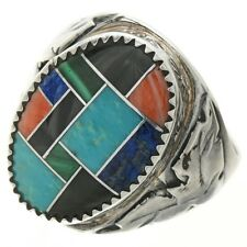 Navajo Inlaid Multi Color Turquoise Silver Mens Ring  , sizes 9-14