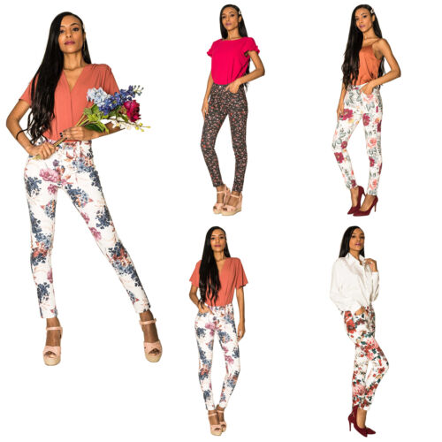 Femme Floral Skinny Pantalon Stretch Coton Femmes Slim Beach Pantalon Taille 8-16