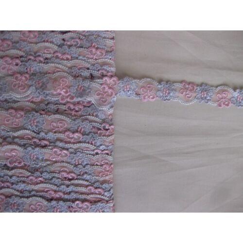 2091 Metri 1 di Passamaneria in pizzo merletto rosa e lilla alta cm 3