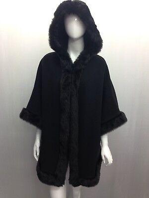 New Fashion Ladies Poncho Women Fur Hooded Winter Warm Coat Jacket Cape Outwear