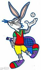 "5.5"" LOONEY TUNES BUGS BUNNY TENNIS SPORTS CHARACTER FABRIC APPLIQUE IRON ON"