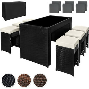 poly rattan aluminium barset mit 6 barhocker sitzgruppe lounge theke tisch ebay. Black Bedroom Furniture Sets. Home Design Ideas