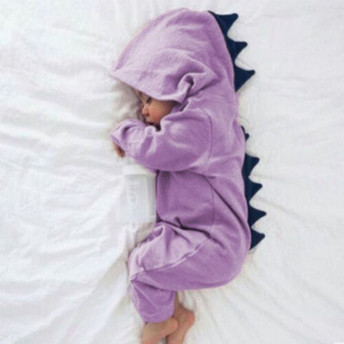 Newborn Infant Baby Boy Girl Dinosaur Hooded Romper Jumpsuit Clothes Outfit UK