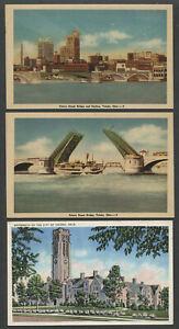 Toledo-OH-Three-c-1930s-40s-Postcards-SKYLINE-CHERRY-ST-BRIDGE-UNIVERSITY