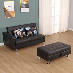 Convertible-Adjustable-3-Position-Futon-Set-Sofa-Bed-Couch-Chaise-Lounge-with