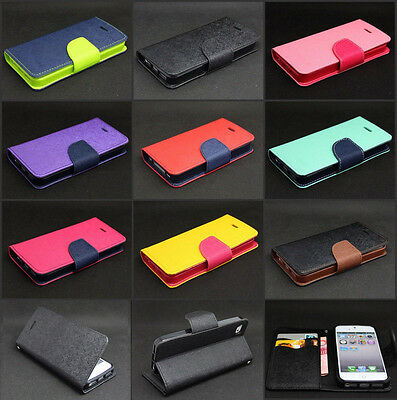 Dual Color Deluxe Leather Wallet Card Stand Case For iPhone 4S 5 5S 6 6S Plus SE