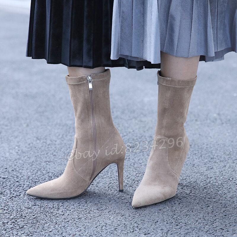 Gr32-46//47 OL Damen Stiefeletten High Heels Ankle Boots Fashion Schuhe Stiefel