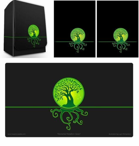 100 Max Pro MTG Size Image Sleeves DeckBox Playmat ELEMENTAL ICONIC GREEN LIFE
