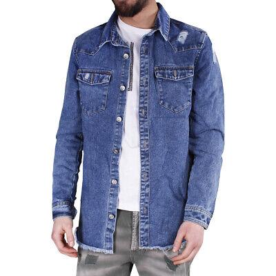 giacca jeans blu scuro smanicata strappata uomo