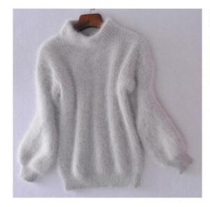 Women Sweater Half High-Necked Winter Warm Loose Sweater Cashmere Tops Gray Hot