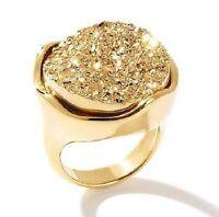 "Bellezza ""nobile"" Enhanced Drusy Goldtone Quartz Round Ring Size 6"