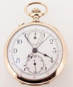 Swiss-Made-14K-Gold-Split-Sec-Chronograph-30-Min-Register-Pocket-Watch-Serviced