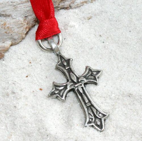Pewter FLEUR De Di LIS CROSS Christmas ORNAMENT Holiday