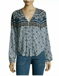 Veronica-Beard-Womens-Sz-10-Blue-Black-White-Print-Button-Down-Top-395