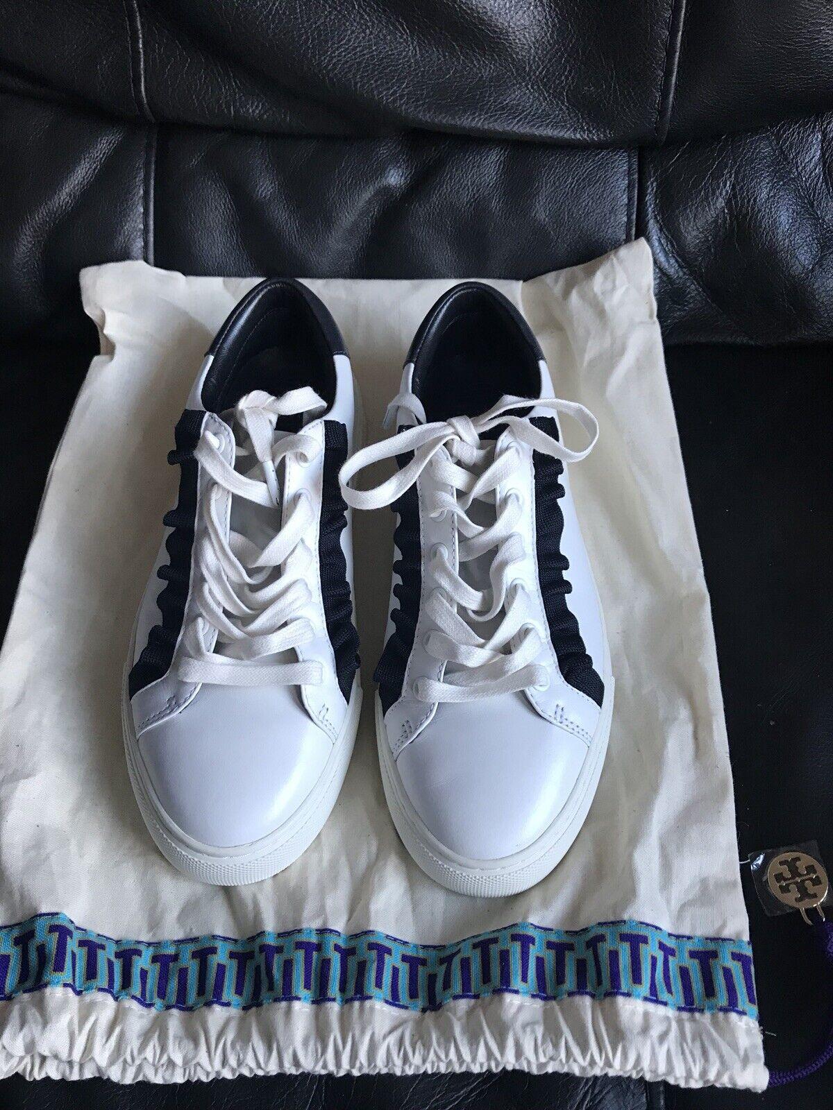 Para Mujer Mujer Mujer Tory Sport Tory Burch Learher volantes Zapatillas zapatillas Talla 4.5 Nuevo  auténtico