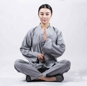 Shaolin Monk Clothes Zen Lay Buddhists Meditation Uniform Temple Monk Robe Suits