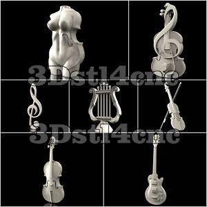 7-3D-STL-Models-Musical-Set-for-CNC-Router-Carving-Machine-Artcam-aspire