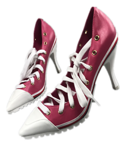 Womens High Heels Sneakers Pointy Toe Lace Up Stilettos Pumps Sport ... 39013aa477