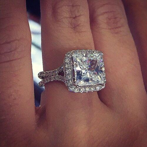 Wedding Ring 8mm Round Natural White Topaz Engagement Ring Diamond Simulant Engagement Ring Bridal Ring Sterling Silver Ring Halo Ring