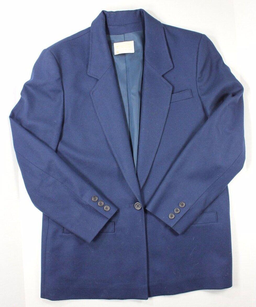 Vintage Pendleton Wool Womens Blazer Dark bluee Size 10 One Button Made USA Lined