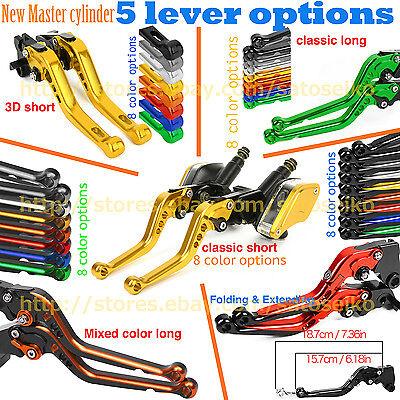"""7//8/"""" Clutch Black BrakeLevers Master Cylinder Kit Reservoir For Honda RC51 00-06"""