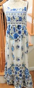 Women-039-s-Size-Med-Spaghetti-Strap-Peacock-Print-Backless-Ruffled-Maxi-Sun-Dress