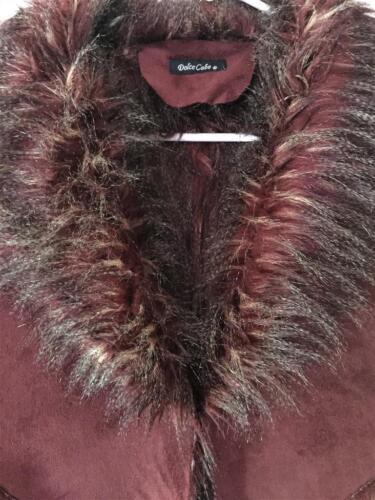 Couture Fabulous Vest Faux Dolce Sz Medium Cabo Rød Suede Fur Vin 1aa0wWqB