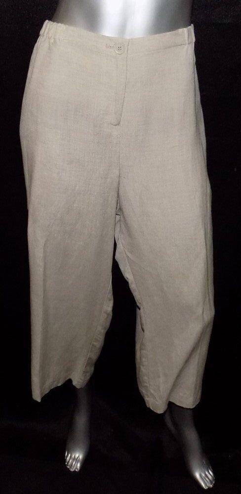 LANE BRYANT NEW Sand Beige Elastic Waist Linen Blend Capri Pants Plus sz 28 28W