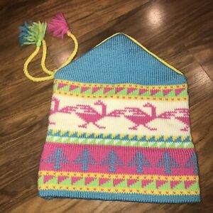 84487bea235ff Vtg 80s MOUNTAIN LADIES Birds Tree BEANIE Neon APRES SKI Cap Snow ...