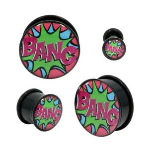 Pair-of-Acrylic-Comic-Book-BANG-Single-Flared-Plugs-With-Black-O-Ring