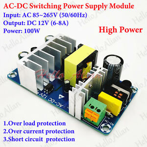 ac dc converter ac 110v 220v 230v to dc 12v 6 8a isolated. Black Bedroom Furniture Sets. Home Design Ideas