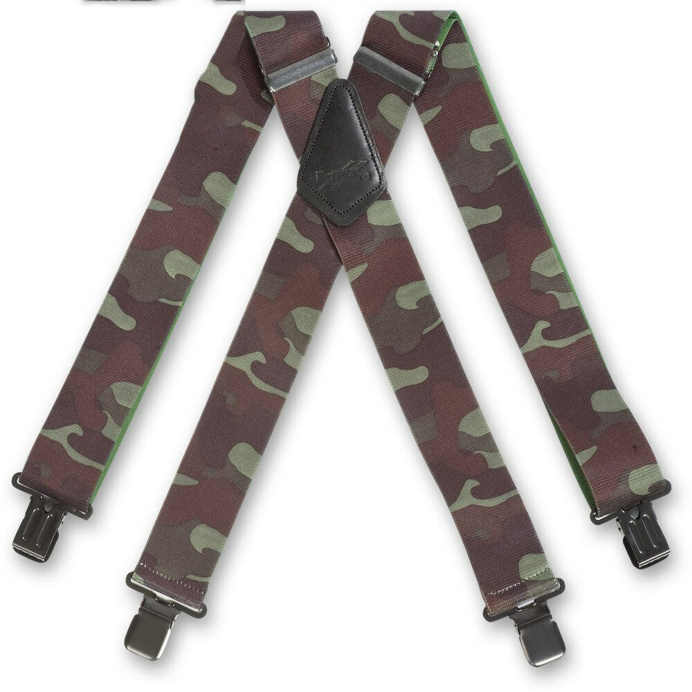 Brimarc Mens Trouser Braces Heavy Duty 2inch 50mm Wide Woodland Camouflage
