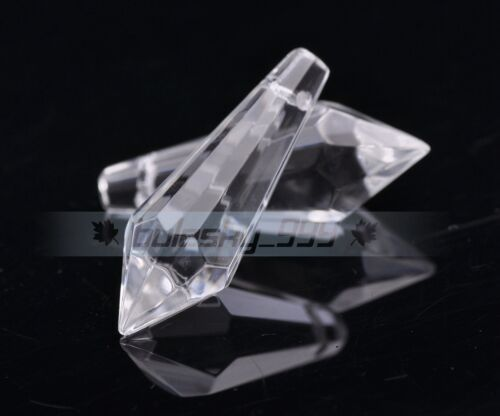 20pcs 35x11mm Faceted Glass Crystal Lamp Home Decor Teardrop Loose Beads Clear