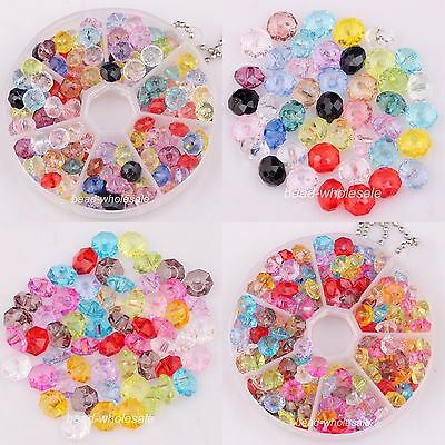 80/100pcs Cute New Mixed Color Loose Faceted Acrylic Rondelle Spacer Beads 8/6mm