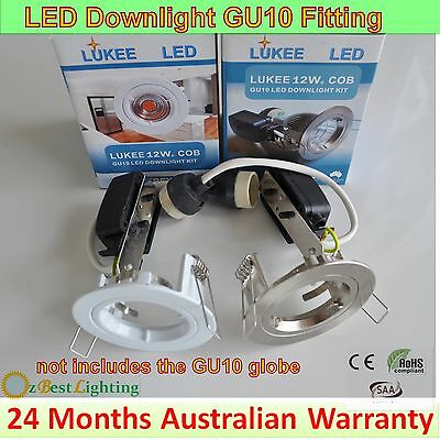 4 x LED GU10 Downlight fitting and lamp holder-70mm or 90mm cutout