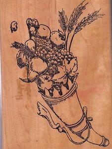 cornucopia-hampton-art-Wood-Mounted-Rubber-Stamp-3-1-2-x-5-034-Free-Shipping