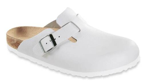 Birkenstock Boston pantofole zoccoli sandali di cuoio 060133 Stretto Bianco