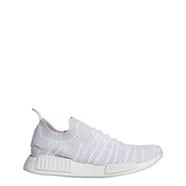 5bb5aa99e73b0 Mens adidas NMD R1 STLT Primeknit Triple White Grey Pink CQ2390 US 8 ...