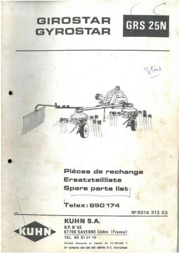 Kuhn Tedder gyrostar Grs Manual De Piezas 25N-GRS25N 25N
