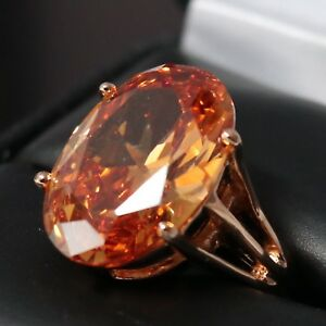 Sparkling-Oval-Orange-Citrine-Ring-Women-Engagement-Jewelry-14K-Rose-Gold-Plate