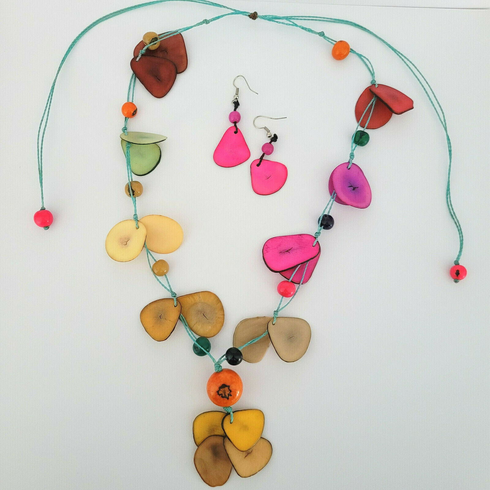 Colorful Necklace Earring Set Cord Beach Pink Yellow Orange Red Green Slices