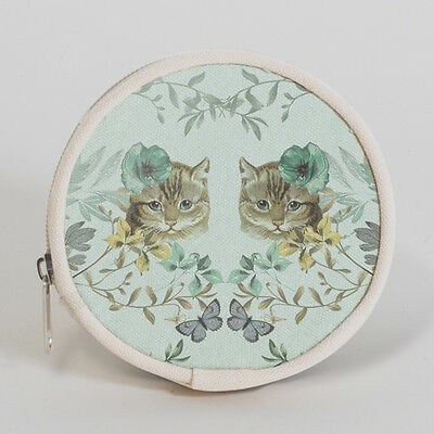 Cute Forest Blossom Cat Coin Purse Round Cotton Polyester 4.5 x 0.75 x 4.5 NWT