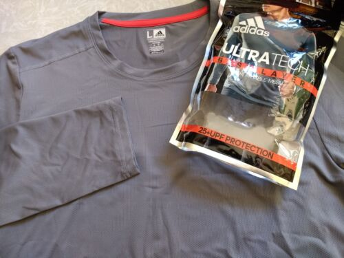 UPF Adidas Mens UltraTech ClimaLite Shirt LS Crew Base Layer Shirt 25 NWT