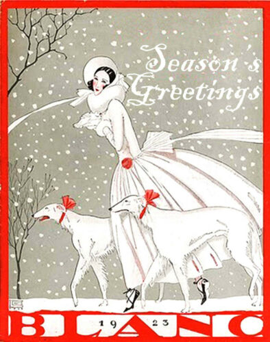 Art Nouveau Sighthound Season/'s Greetings Cards Set of 4 with envelopes