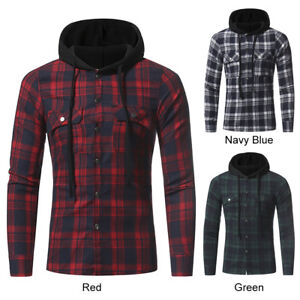 Men-039-s-Casual-Hoodie-Plaid-Checked-Flannel-Lattice-Shirt-Thick-Long-Sleeved-Tops