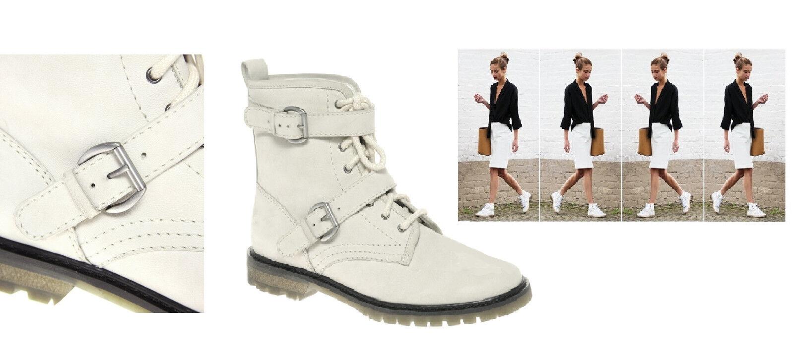 NIB  149 Designer Genuine Leather Alexa Chung BOOTS Italian 39-41 Winter White