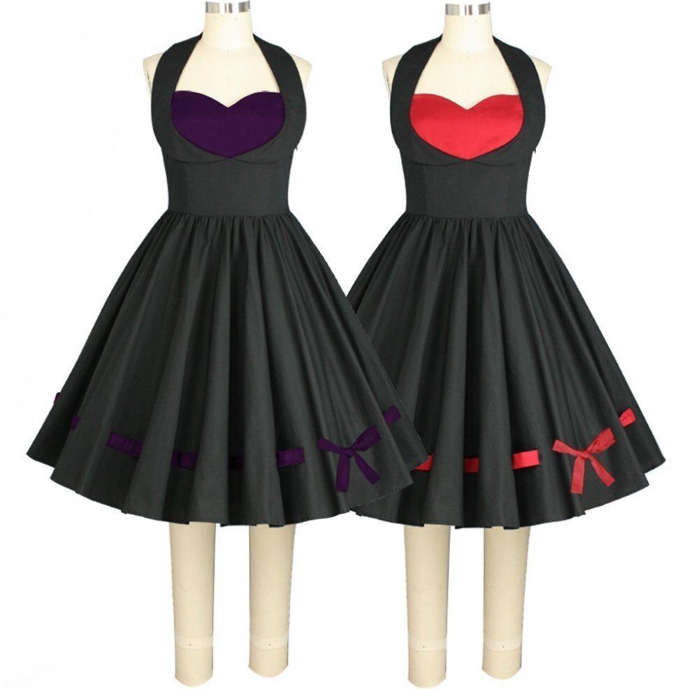 77304 CSTD 50er Rockabilly Kleid Herz Schleife Pin Up Vintage Gr. 36 bis 58